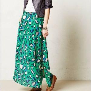 Vanessa Virginia Anthropologie Maxi Skirt Green